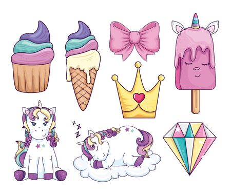 collection of sweet and fantasy icons vector illustration design