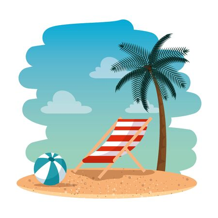 summer beach seascape with chair and balloon vector illustration design  イラスト・ベクター素材