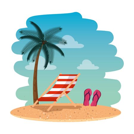 summer beach seascape with chair and sandals vector illustration design  イラスト・ベクター素材