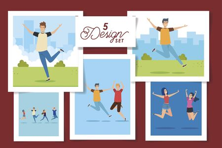 set of five designs teenager group celebrating vector illustration design Ilustração