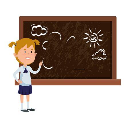 happy student girl drawing in chalkboard vector illustration design Banque d'images - 140039822