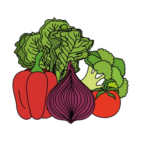 fresh vegetables nature icons vector illustration design Illustration