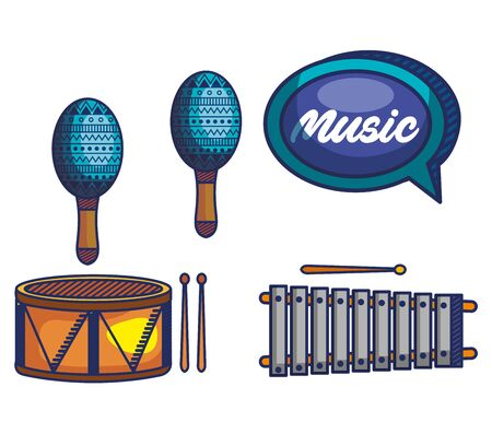 set of maracas with drum and marimba instruments over white background vector illustration Ilustração