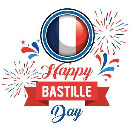 france flag with fireworks and ribbon decoration to bastille celebration