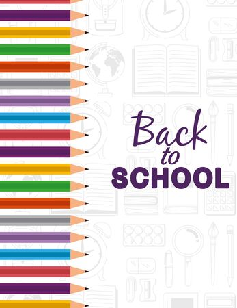 pencils colors supplies elementary education to cack to school vector illustration 向量圖像