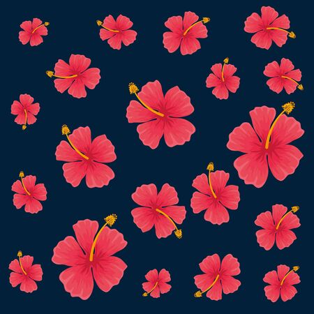 exotic tropical flowers pattern vector illustration design