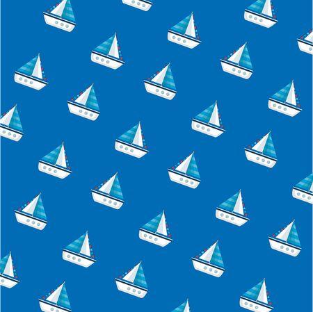 ships sailboats summer pattern background vector illustration design