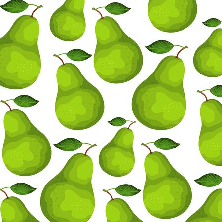 fresh pears fruits nature pattern vector illustration design