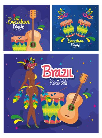 set of poster carnival brazil with decoration vector illustration design