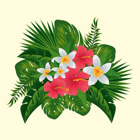 nature flowers plants with exotic leaves vector illustration
