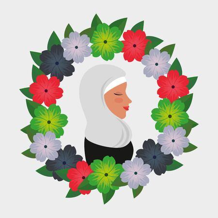 profile of islamic woman with traditional burka in floral wreath vector illustration 免版税图像 - 140071036