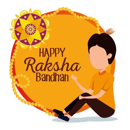 label of raksha bandhan traditional decoration and boy with bracelet, vector illustration