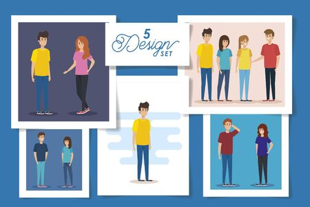 set of five designs teenager group vector illustration design Ilustração