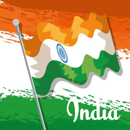 india patriotism flag and traditional holiday to independence day vector illustration Ilustração