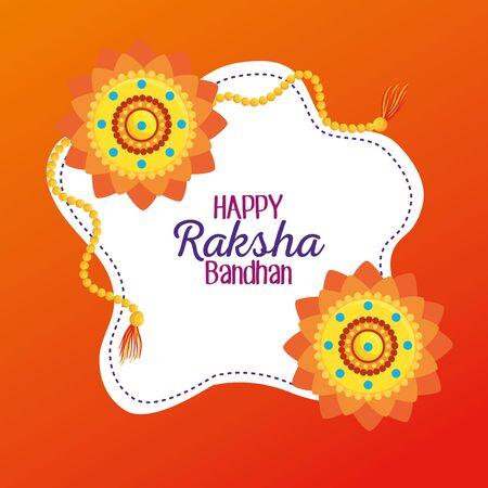 label of flowers bracelet traditional decoration to raksha bandhan, vector illustration  イラスト・ベクター素材