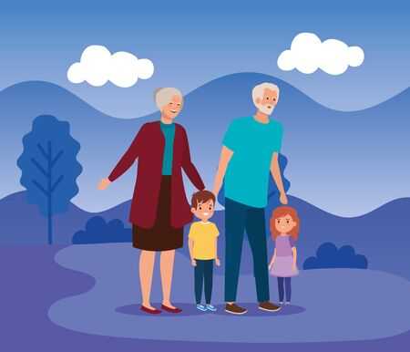 grandparents with their cute girl and boy kids in the landscape, vector illustration Banco de Imagens - 140071289