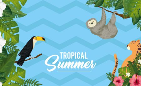 tropical summer poster with animals exotics and leafs vector illustration design