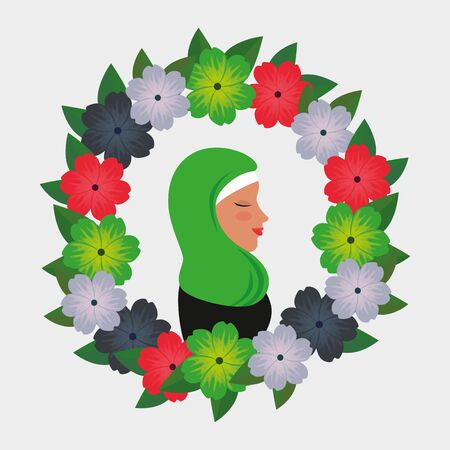 profile of islamic woman with traditional burka in floral wreath vector illustration 免版税图像 - 140071316