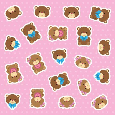 cutte little bears teddies couple pattern vector illustration design