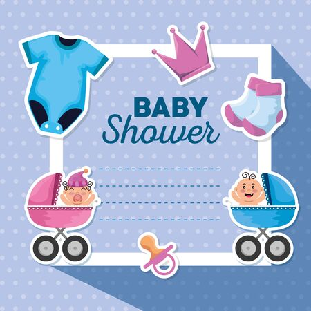 card decoration with socks and pijama with carriage to baby shower vector illustration Standard-Bild - 140071329