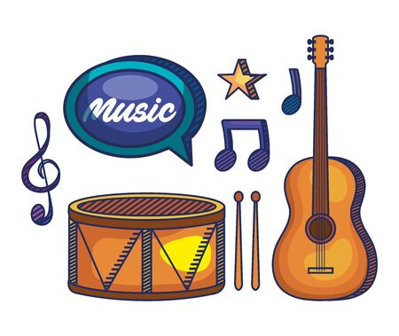 set of drum with guitar and treble clef with quaver and beam notes to music melody vector illustration