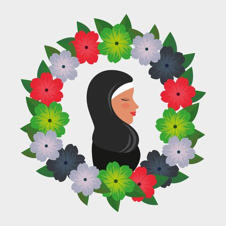 profile of islamic woman with traditional burka in floral wreath vector illustration 免版税图像 - 140071341