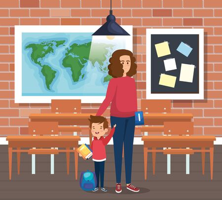 mother with boy student and books with backpack in the classroom vector illustration Ilustração
