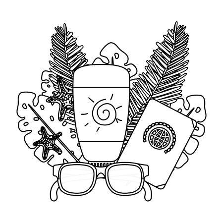 solar blocker bottle with sunglasses and passport vector illustration design