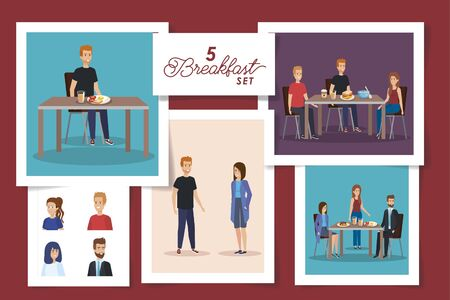set of five designs of people in the breakfast vector illustration design