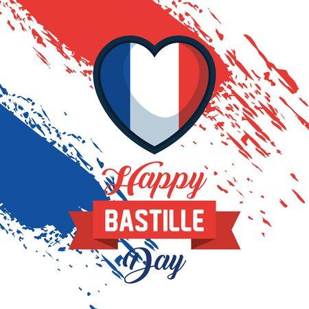 heart france flag with ribbon decoration to bastille celebration vector illustration Ilustracja
