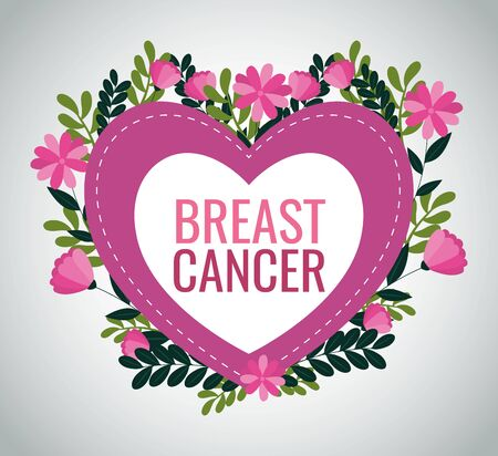 Breast cancer campaign design with heart and flower over white background