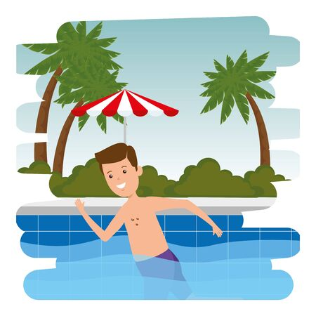 man swiming in pool with umbrella scene vector illustration design