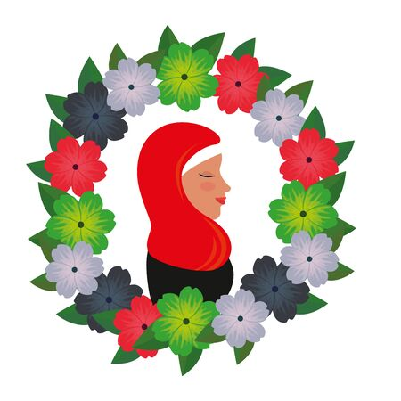profile of islamic woman with traditional burka in floral wreath vector illustration 免版税图像 - 140071455