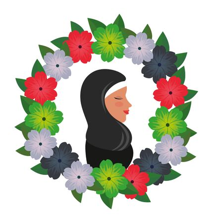 profile of islamic woman with traditional burka in floral wreath vector illustration 免版税图像 - 140071526