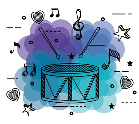 drum with treble clef and quaver with beam notes to music melody vector illustration