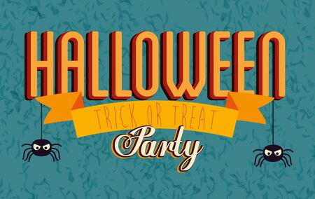 poster of party halloween with spiders hanging vector illustration design