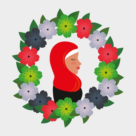 profile of islamic woman with traditional burka in floral wreath vector illustration 免版税图像 - 140071604