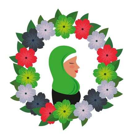 profile of islamic woman with traditional burka in floral wreath vector illustration 免版税图像 - 140071635