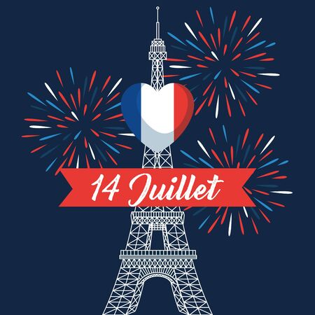 heart france flag with eiffel tower and ribbon to bastille celebration Ilustracja