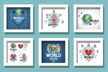 bundle of world health day and set icons vector illustration design Ilustracja