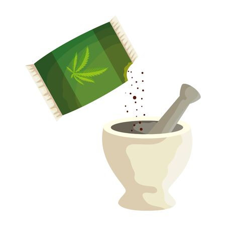 cannabis seeds bag with grinder vector illustration design
