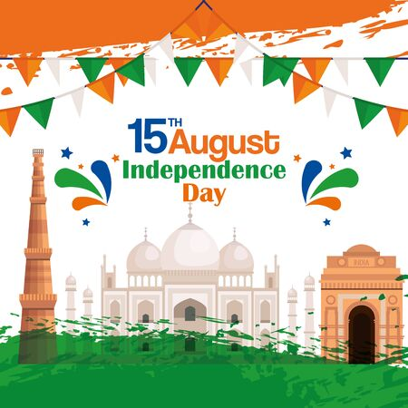 taj mahal with india architecture and party banner to independence day vector illustration