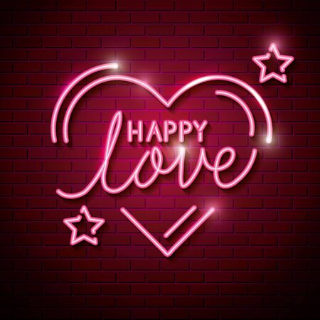 happy love with heart and stars of neon lights vector illustration design