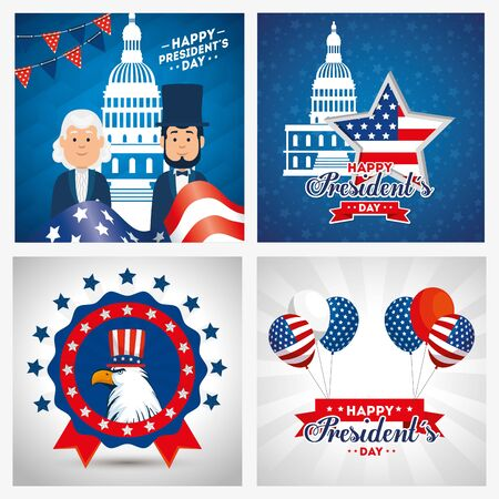 Men avatars cartoons design, Usa happy presidents day united states america independence nation us country and national theme Vector illustration 矢量图像