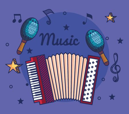 accordeon and maracas instruments with treble clef and quaver with beam notes to music vector illustration