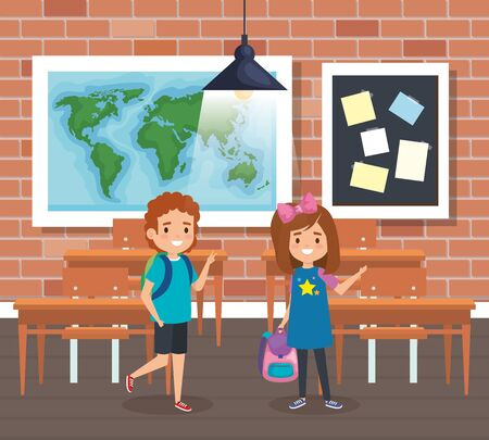 boy and girl students with global map in the classroom to back to school vector illustration 일러스트