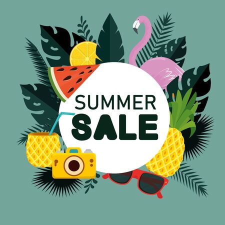sale of tropical fruits with flamish and leaves plants to summer sale vector illustration Standard-Bild - 140205611