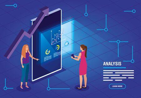 business women with data analysis vector illustration design Foto de archivo - 140205683