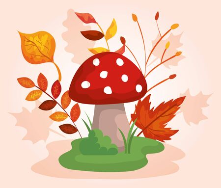 nature fungus with autumn leaves plants over pink background, vector illustration
