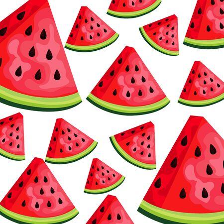 fresh watermelons fruits nature pattern vector illustration design